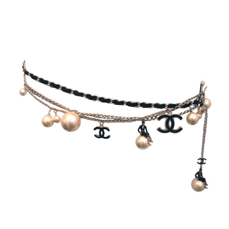 "Chanel Silver Logo Chian Belt W/Pearls and Black ""CC"" Detail 1"