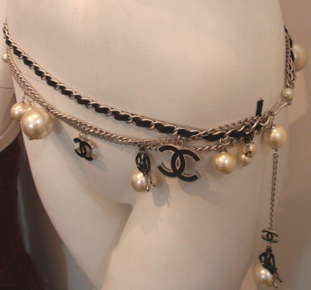 "Chanel Silver Logo Chian Belt W/Pearls and Black ""CC"" Detail 3"