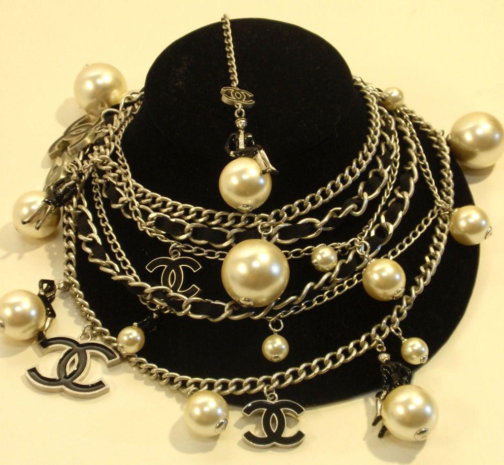 "Chanel Silver Logo Chian Belt W/Pearls and Black ""CC"" Detail 4"