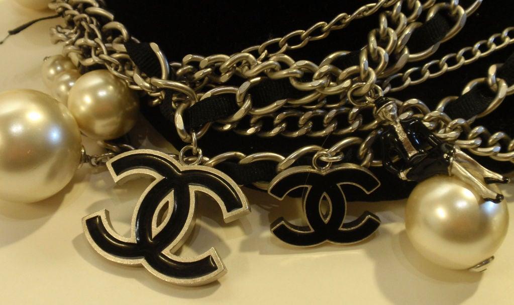 "Chanel Silver Logo Chian Belt W/Pearls and Black ""CC"" Detail 5"