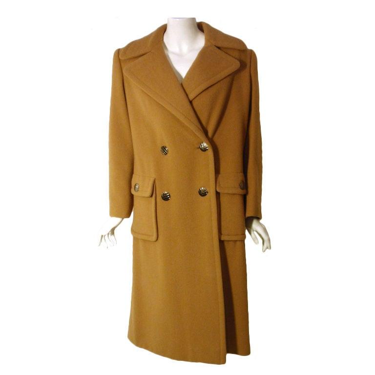Galanos  Dark Camel Wool Double Breasted Coat, Circa 1960's