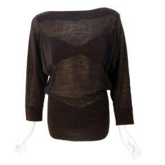 Alaia Gray Knit Sheer Sweater, Circa 1990