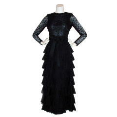 GIVENCHY COUTURE Black Lace Tiered Gown with Bow at Waist 4