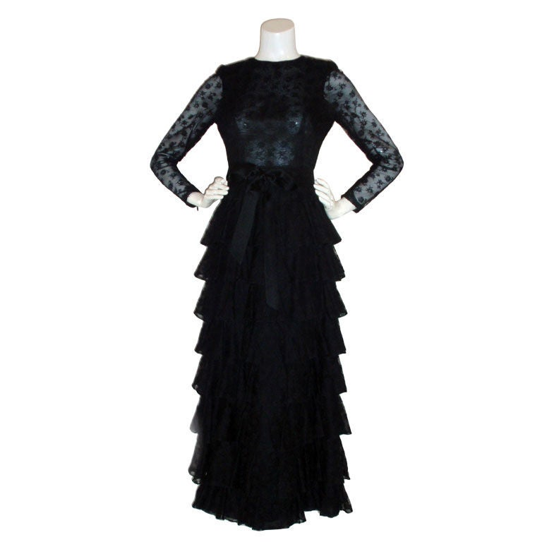 GIVENCHY COUTURE Black Lace Tiered Gown with Bow at Waist 4 1