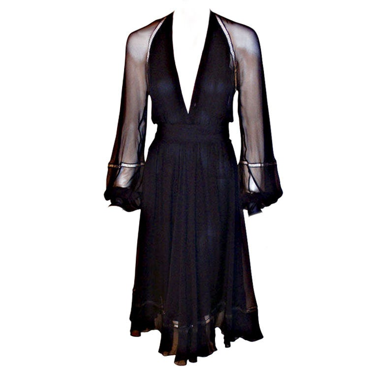 Christian Dior Haute Couture Navy Chiffon Cocktail Dress, Circa 1970's Size 4 1