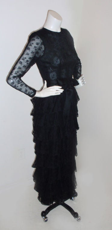 GIVENCHY COUTURE Black Lace Tiered Gown with Bow at Waist 4 3