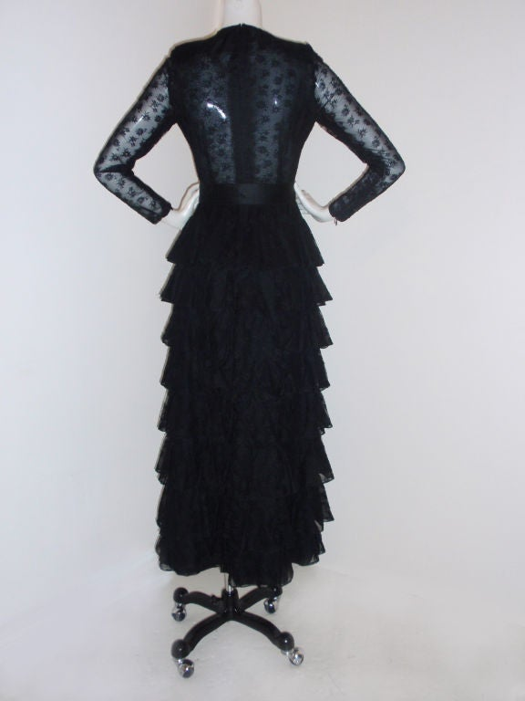 GIVENCHY COUTURE Black Lace Tiered Gown with Bow at Waist 4 4