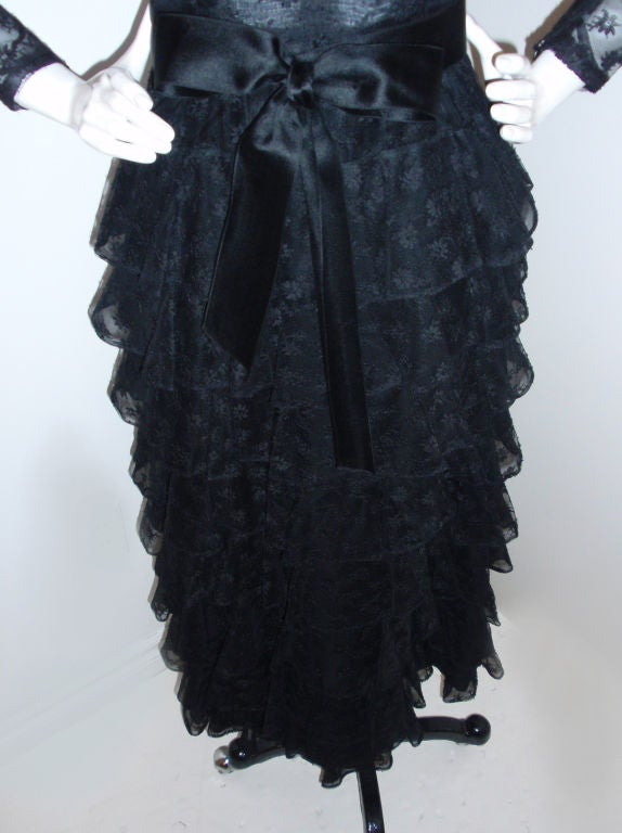 GIVENCHY COUTURE Black Lace Tiered Gown with Bow at Waist 4 5