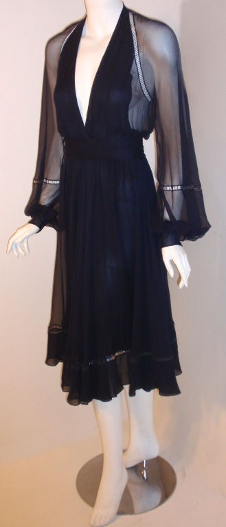 Christian Dior Haute Couture Navy Chiffon Cocktail Dress, Circa 1970's Size 4 4