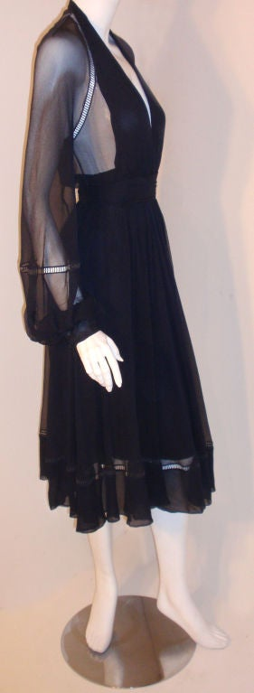 Christian Dior Haute Couture Navy Chiffon Cocktail Dress, Circa 1970's Size 4 5