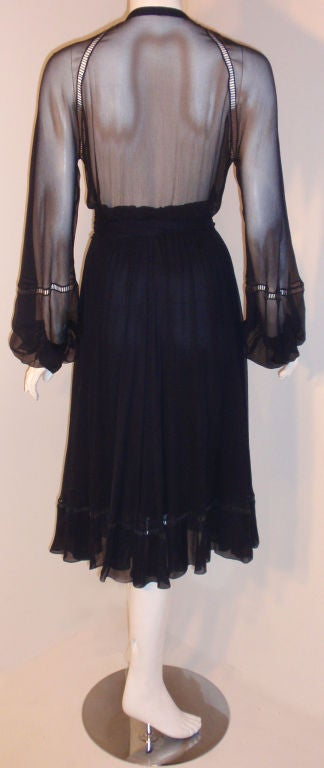 Christian Dior Haute Couture Navy Chiffon Cocktail Dress, Circa 1970's Size 4 6