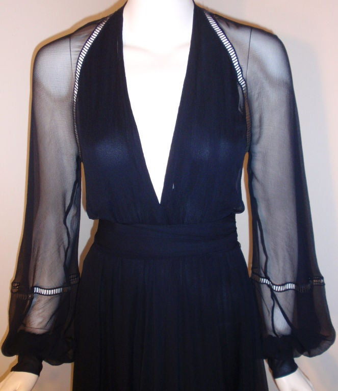 Christian Dior Haute Couture Navy Chiffon Cocktail Dress, Circa 1970's Size 4 7