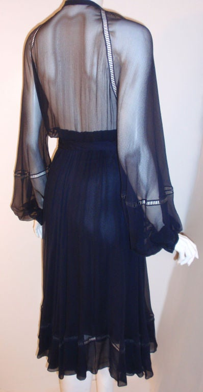 Christian Dior Haute Couture Navy Chiffon Cocktail Dress, Circa 1970's Size 4 9