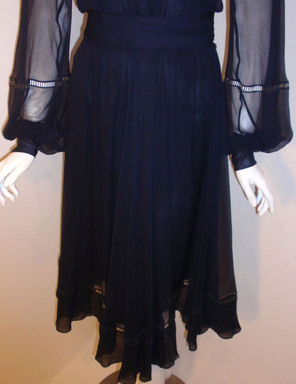Christian Dior Haute Couture Navy Chiffon Cocktail Dress, Circa 1970's Size 4 10