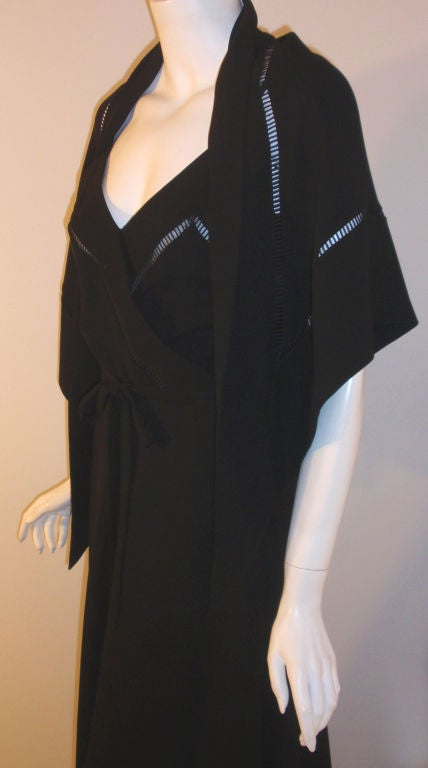 Women's Christian Dior Haute Couture 2pc Black Gown w/Shawl, Betsy Bloomingdale 1970s For Sale