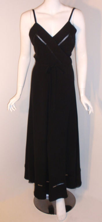 Christian Dior Haute Couture 2pc Black Gown w/Shawl, Betsy Bloomingdale 1970s For Sale 2