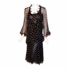 Christian Dior Haute Couture 2pc Navy/White Polka Dress