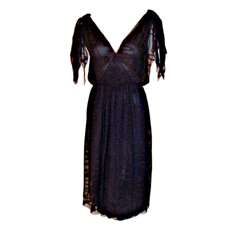 CHISTIAN DIOR HAUTE COUTURE Navy Layered Chiffon Dress, Betsy Bloomingdale 1980s