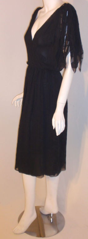 Black CHISTIAN DIOR HAUTE COUTURE Navy Layered Chiffon Dress, Betsy Bloomingdale 1980s For Sale