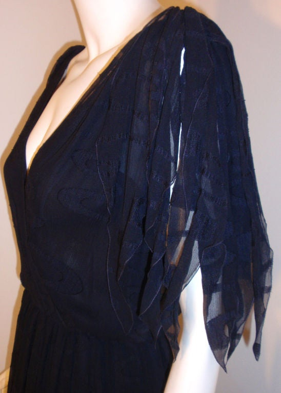 CHISTIAN DIOR HAUTE COUTURE Navy Layered Chiffon Dress, Betsy Bloomingdale 1980s For Sale 2