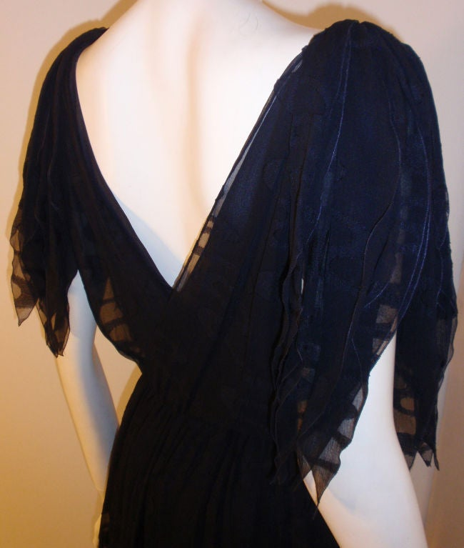 CHISTIAN DIOR HAUTE COUTURE Navy Layered Chiffon Dress, Betsy Bloomingdale 1980s For Sale 4