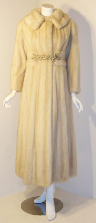 Galanos late 1960s full Length White Mink Coat with Toggle Self Belt 2