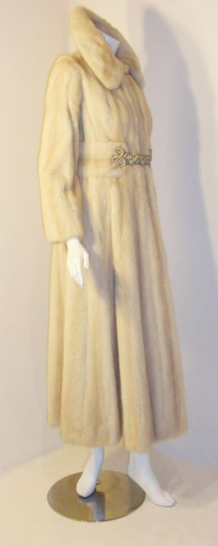 Galanos late 1960s full Length White Mink Coat with Toggle Self Belt 3