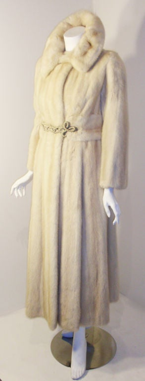 Galanos late 1960s full Length White Mink Coat with Toggle Self Belt 4