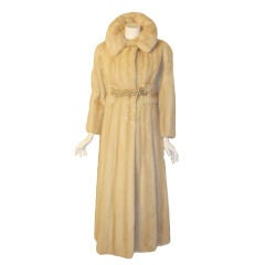 Galanos late 1960s full Length White Mink Coat with Toggle Self Belt