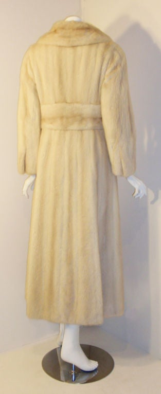 Galanos late 1960s full Length White Mink Coat with Toggle Self Belt 5