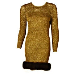 Custom Made Gold Cocktail Dress Worn By Beyonce Knowles