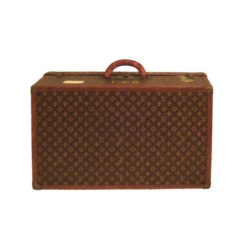 L.Vuitton Brown Monogram Hard Back/Trunk Suit Case, Circa 1948 1