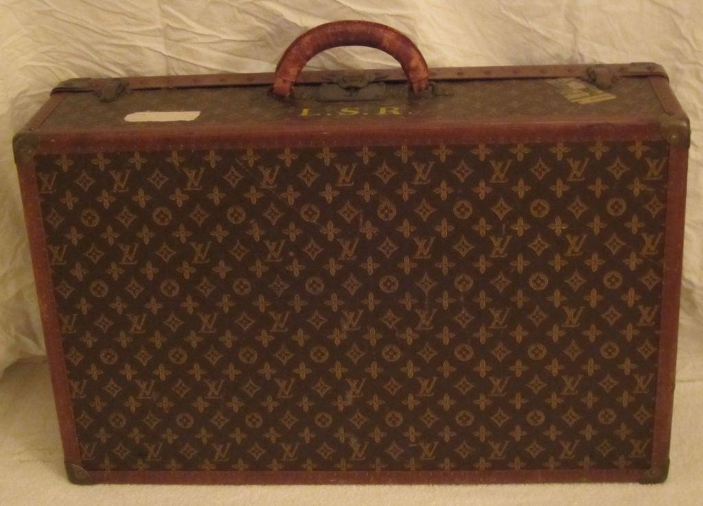 L.Vuitton Brown Monogram Hard Back/Trunk Suit Case, Circa 1948 8