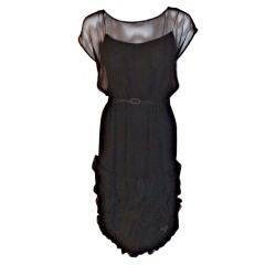 Galanos Black Chiffon Cocktail Dress with Ruffles, Circa 1960