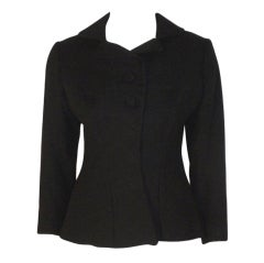 Charles James Rare Black Wool Blazer, Circa 1940