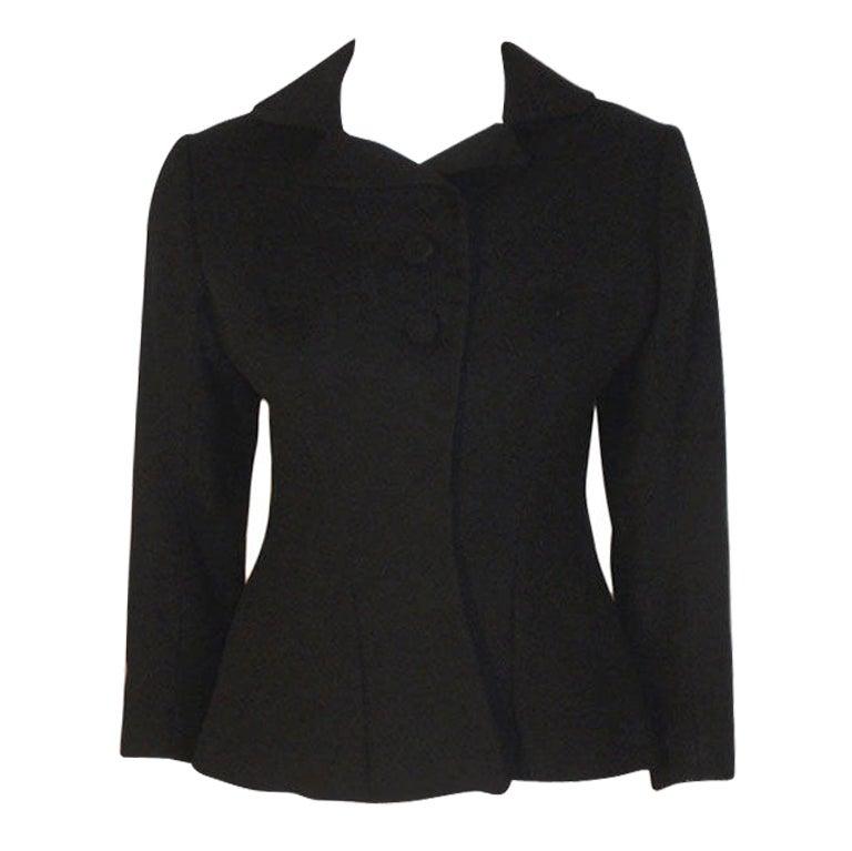 Charles James Rare Black Wool Blazer, Circa 1940 For Sale