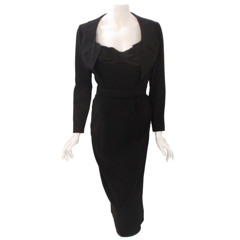 Jacques Fath 2pc Black Crepe Dress and Jacket Set, 1950 For Sale