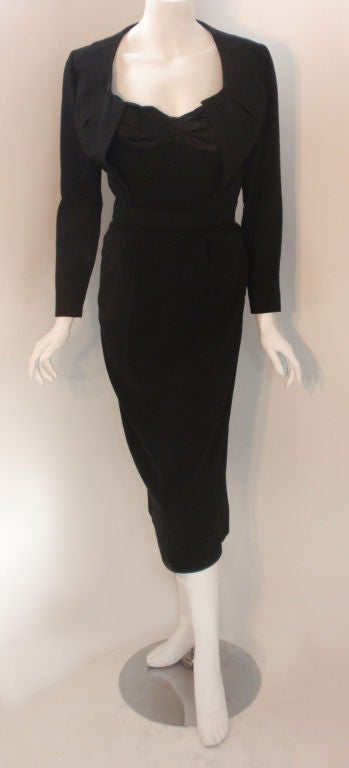 Jacques Fath 2pc Black Crepe Dress and Jacket Set, 1950 In Excellent Condition For Sale In Los Angeles, CA