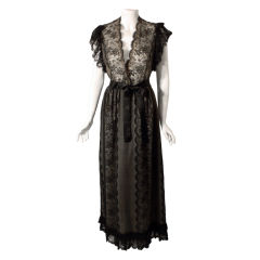 Thea Porter Long Black Lace Dress, Circa 1970
