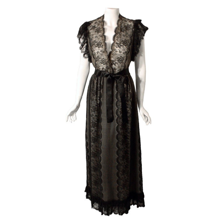 Costume Jewelry For Evening Gowns Of Thea Porter Long Black Lace Dress Circa 1970 For Sale At