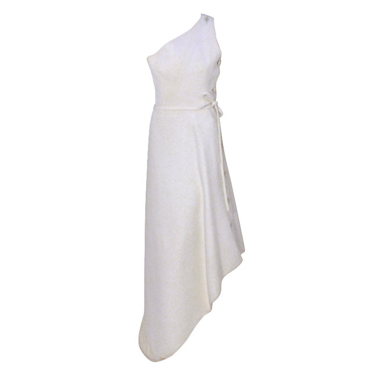 Givenchy Couture Long White One Shoulder Gown, Circa 1970's Betsy Bloomingdale
