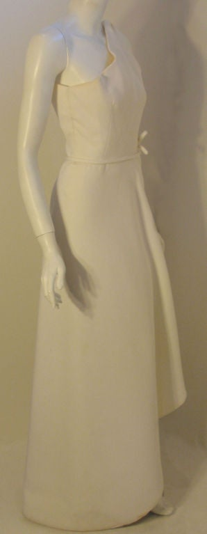 Gray Givenchy Long White One Shoulder Gown, Circa 1970's Betsey Bloomingdale For Sale