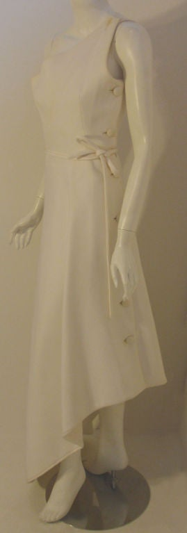 Givenchy Long White One Shoulder Gown, Circa 1970's Betsey Bloomingdale In Good Condition For Sale In Los Angeles, CA