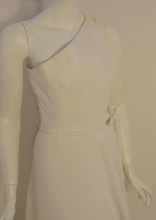 Givenchy Long White One Shoulder Gown, Circa 1970's Betsey Bloomingdale For Sale 2