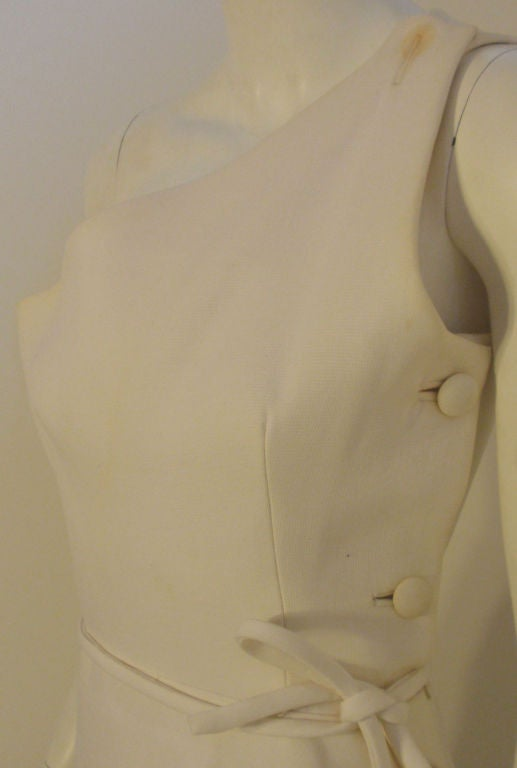 Givenchy Long White One Shoulder Gown, Circa 1970's Betsey Bloomingdale For Sale 3