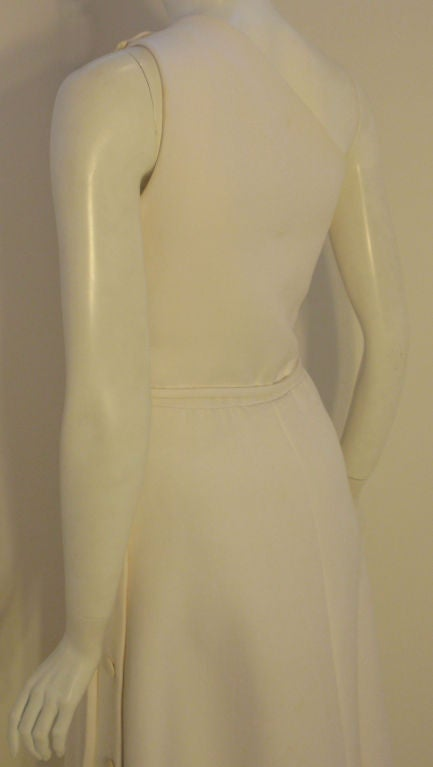 Givenchy Long White One Shoulder Gown, Circa 1970's Betsey Bloomingdale For Sale 4