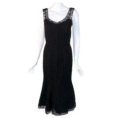 Samuel Winston Black Cocktail Dress W/Ribbon Detail, Circa 1940