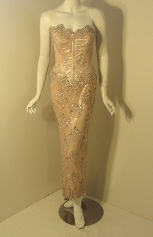 Women's Vick Tiel Pink Lace Beaded Strapless Gown, Circa 1980 For Sale