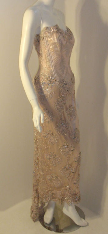 Brown Vick Tiel Pink Lace Beaded Strapless Gown, Circa 1980 For Sale
