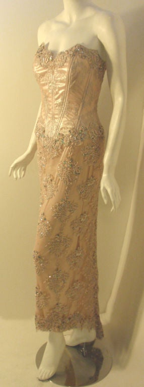 Vick Tiel Pink Lace Beaded Strapless Gown, Circa 1980 In Excellent Condition For Sale In Los Angeles, CA